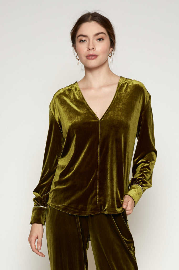 Hayden Velvet Tie Neck Top