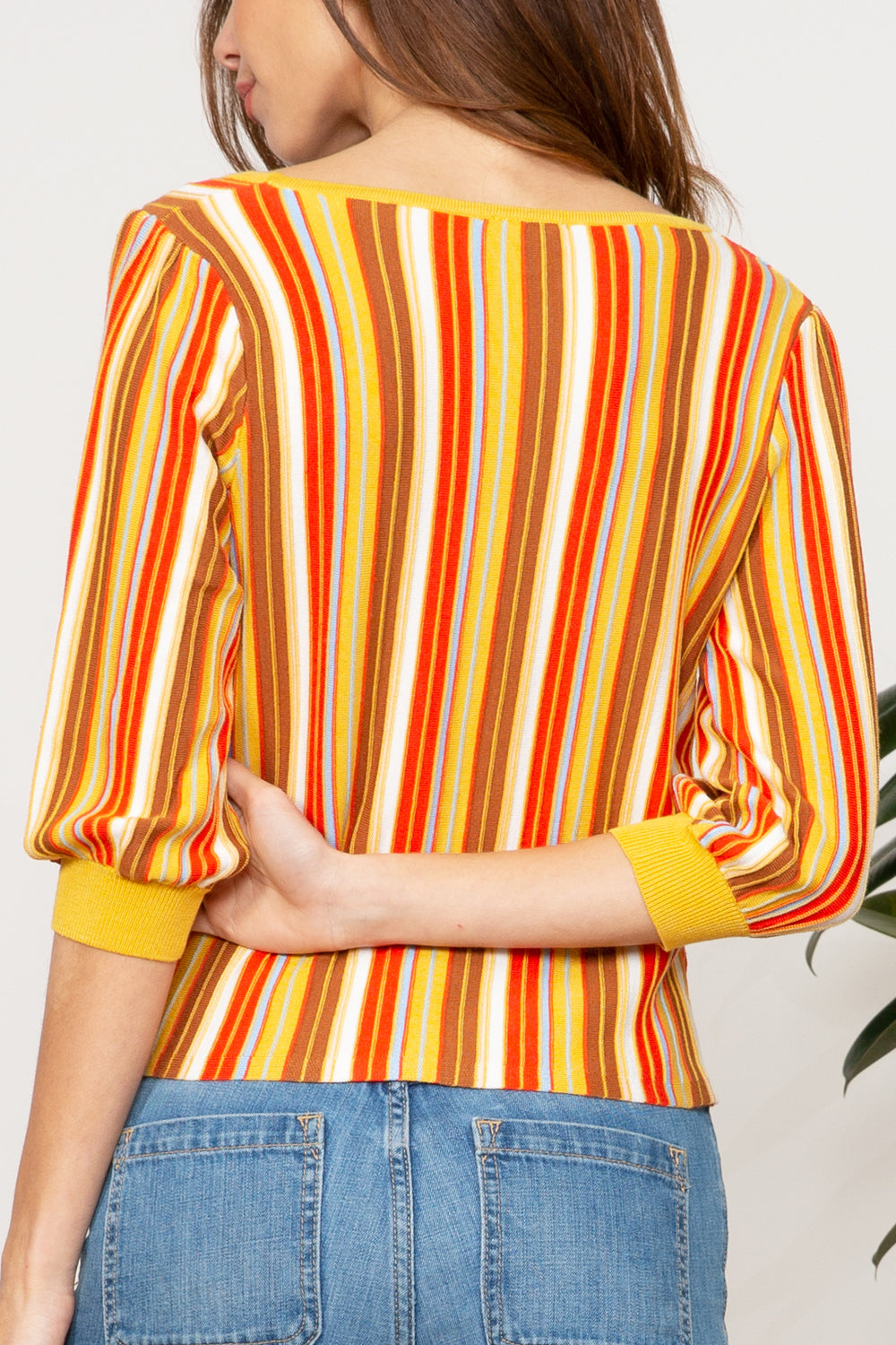 Katrina Rainbow Bubble Sleeve Top