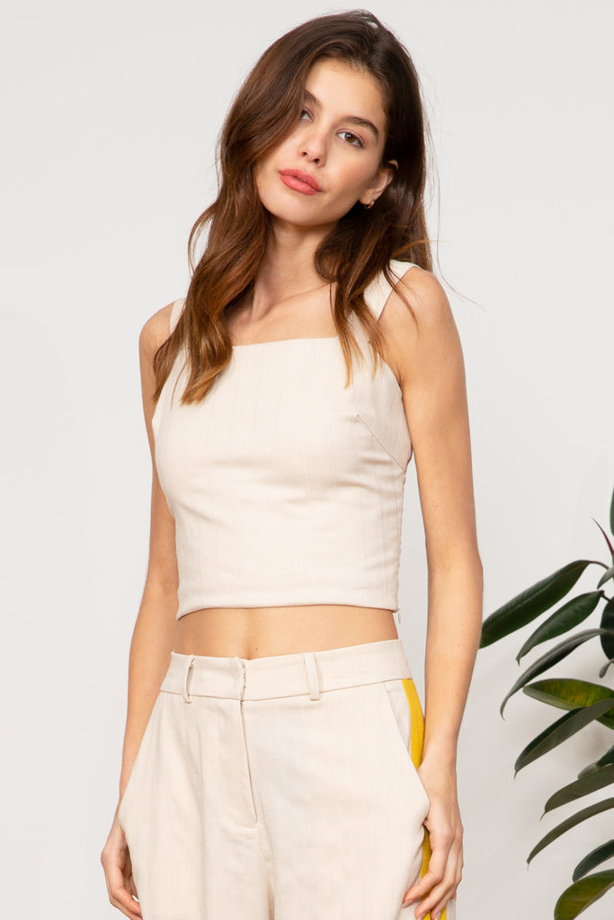 LUCY PARIS - Blake Button Back Crop