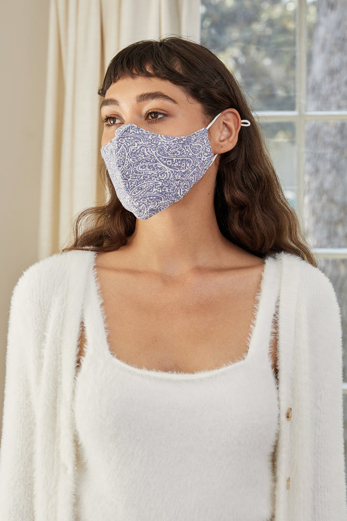 LUCY PARIS - Blue Paisley Face Mask
