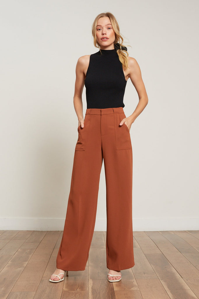 Lucy Paris - Diana Wide Leg Pant - RUST