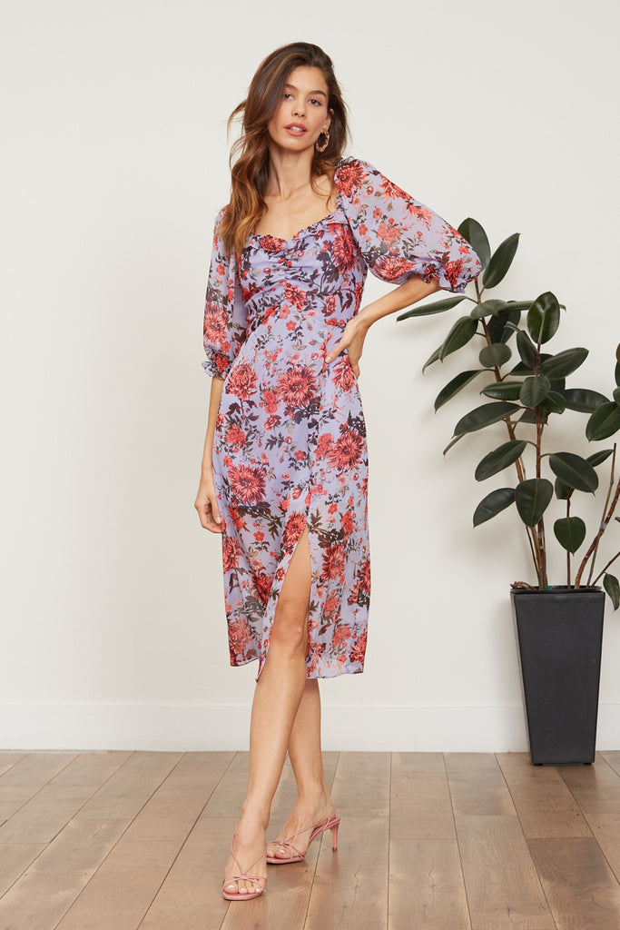 LUCY PARIS - Ellie Floral Dress - Lavender