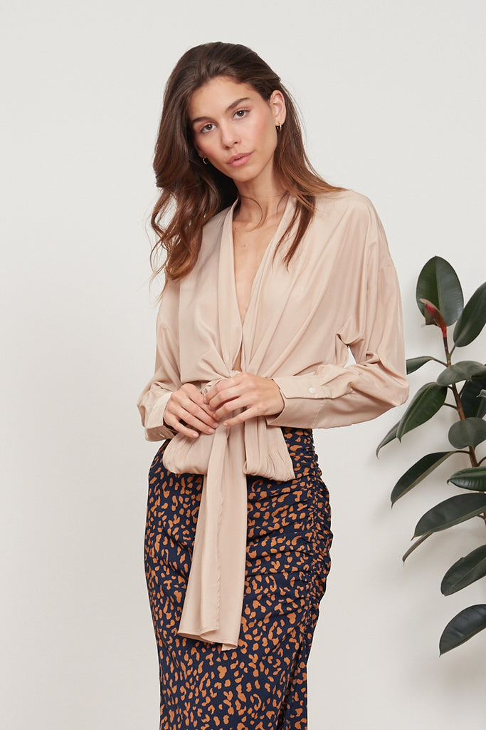 LUCY PARIS - Gloria Wrap Top - Tan