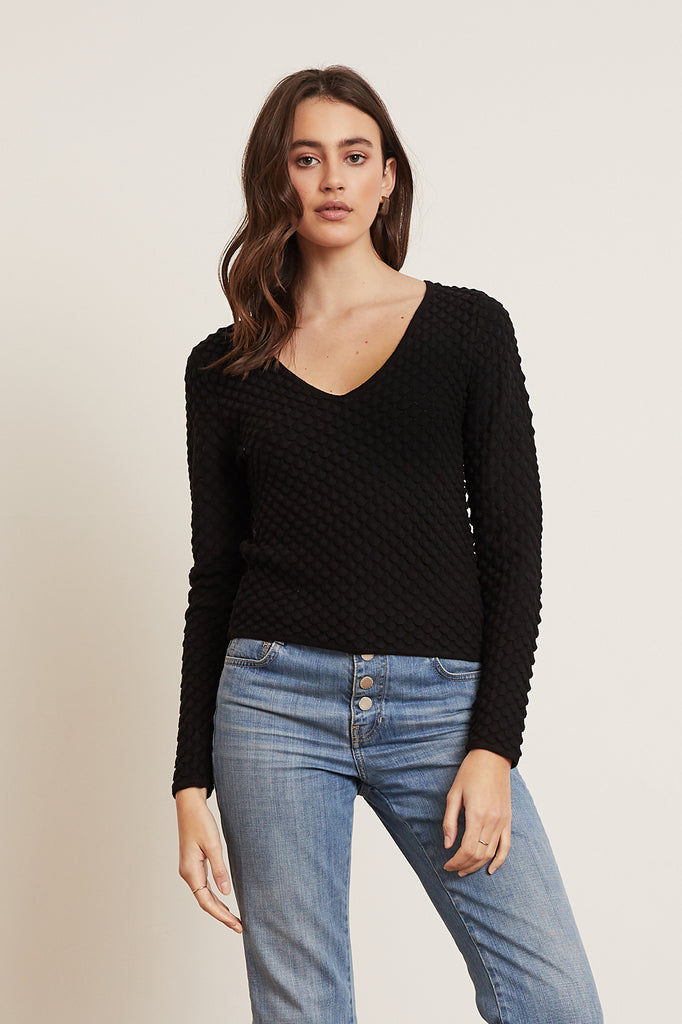 LUCY PARIS - Gracie Bubble Sleeve Sweater - Black