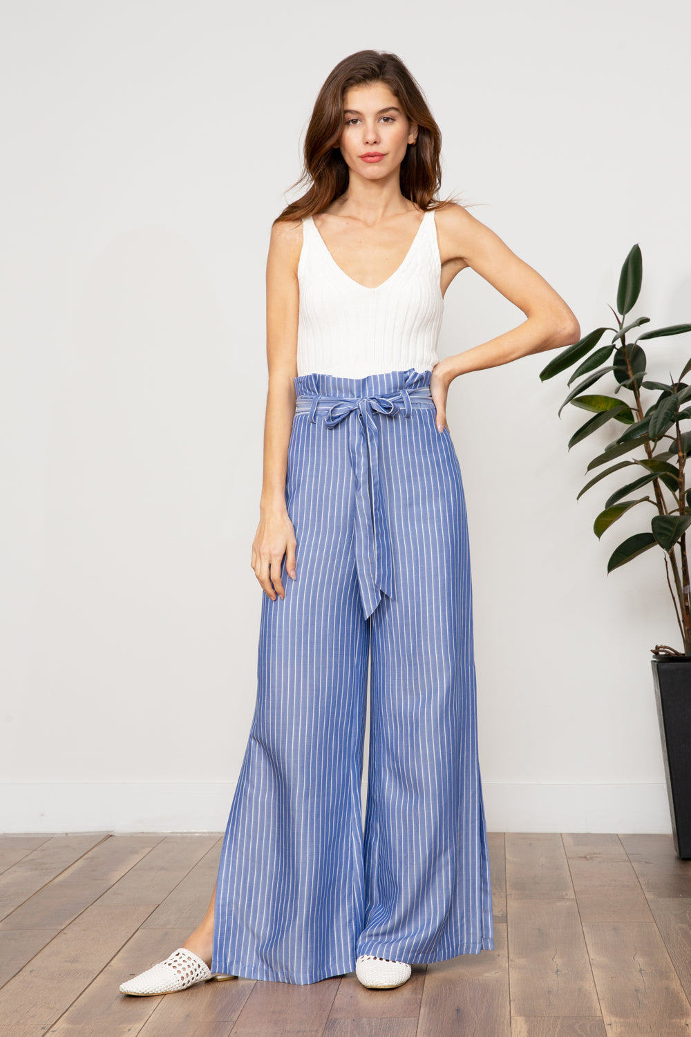 LUCY PARIS - Imogen Striped Pant - BLUE