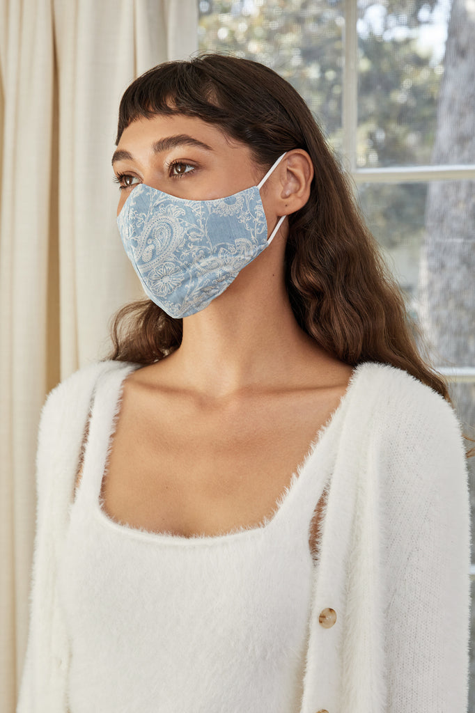 LUCY PARIS - Light Blue Paisley Face Mask