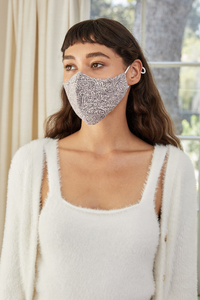 LUCY PARIS - Taupe Paisley Face Mask