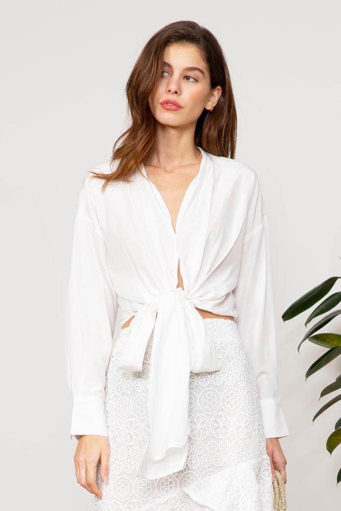 LUCY PARIS - Gloria Wrap Top - White