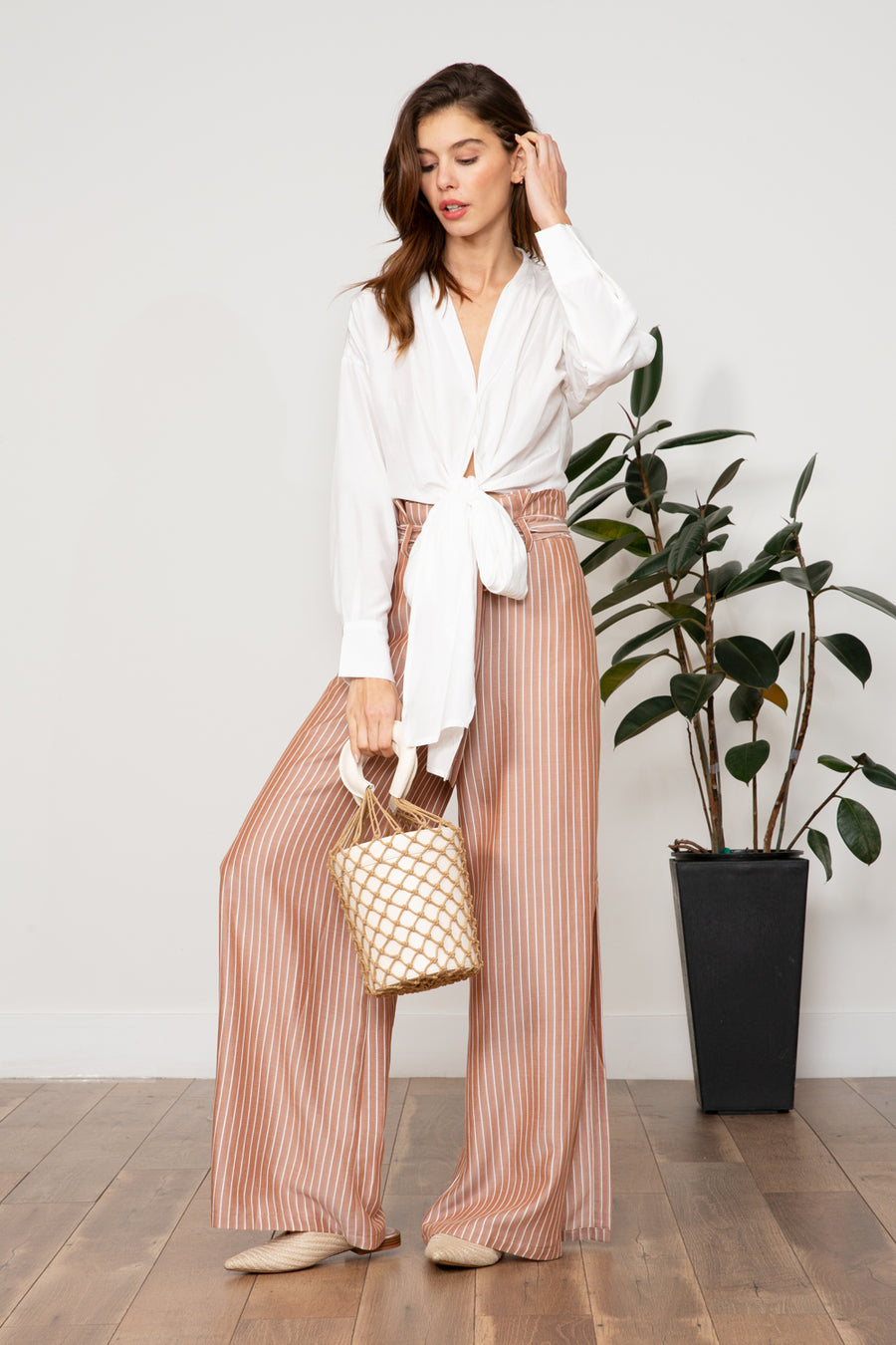 Lucy Paris - Imogen Striped Pant - Tan