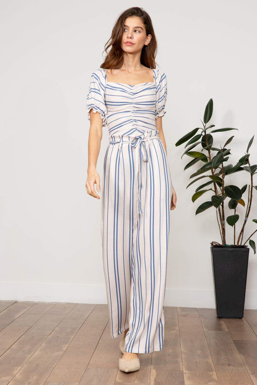 Mila Striped Paperbag Pant
