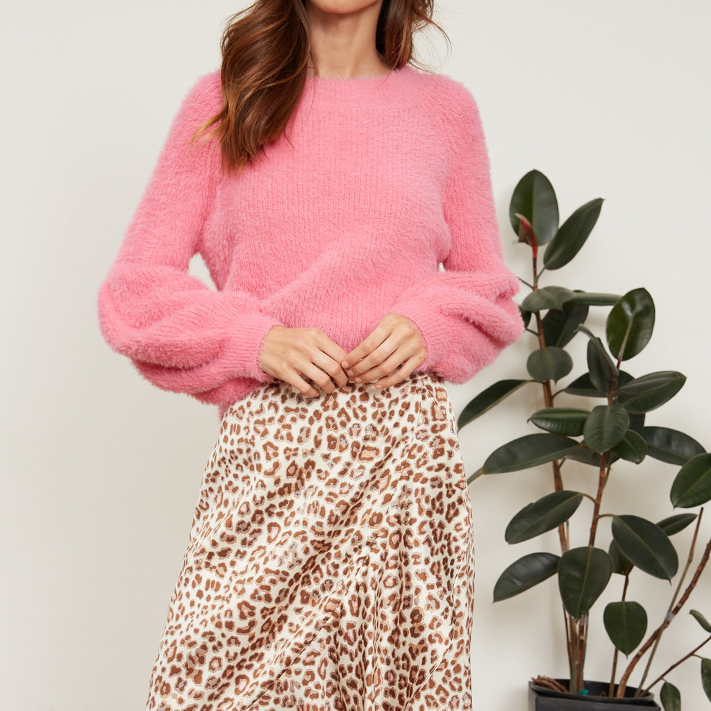 Rose Puffy Sleeve Sweater