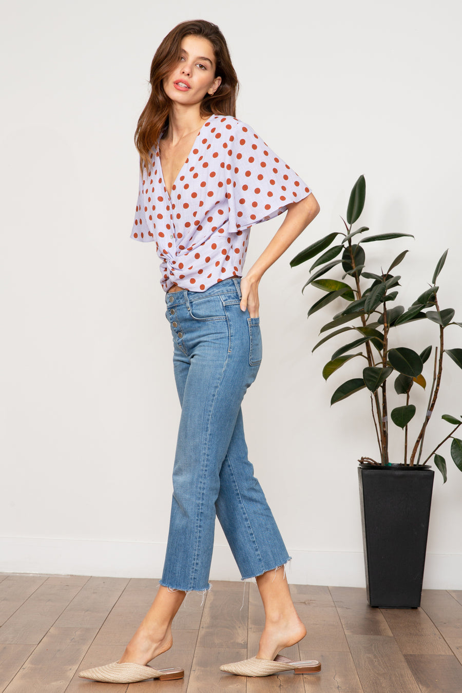 Katelyn Polka Dot Knot Top