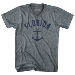 Florida State Anchor Home Tri-Blend Adult V-neck Womens T-shirt