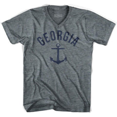 Georgia State Anchor Home Tri-Blend Adult V-neck Womens T-shirt by Ultras