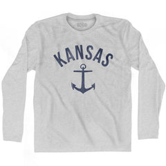 Kansas State Anchor Home Cotton Adult Long Sleeve T-shirt by Ultras