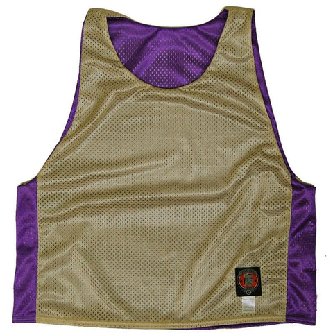 Purple and Vegas Gold Reversible Lacrosse Pinnie