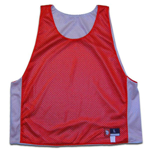 Red and Silver Reversible Lacrosse Pinnie