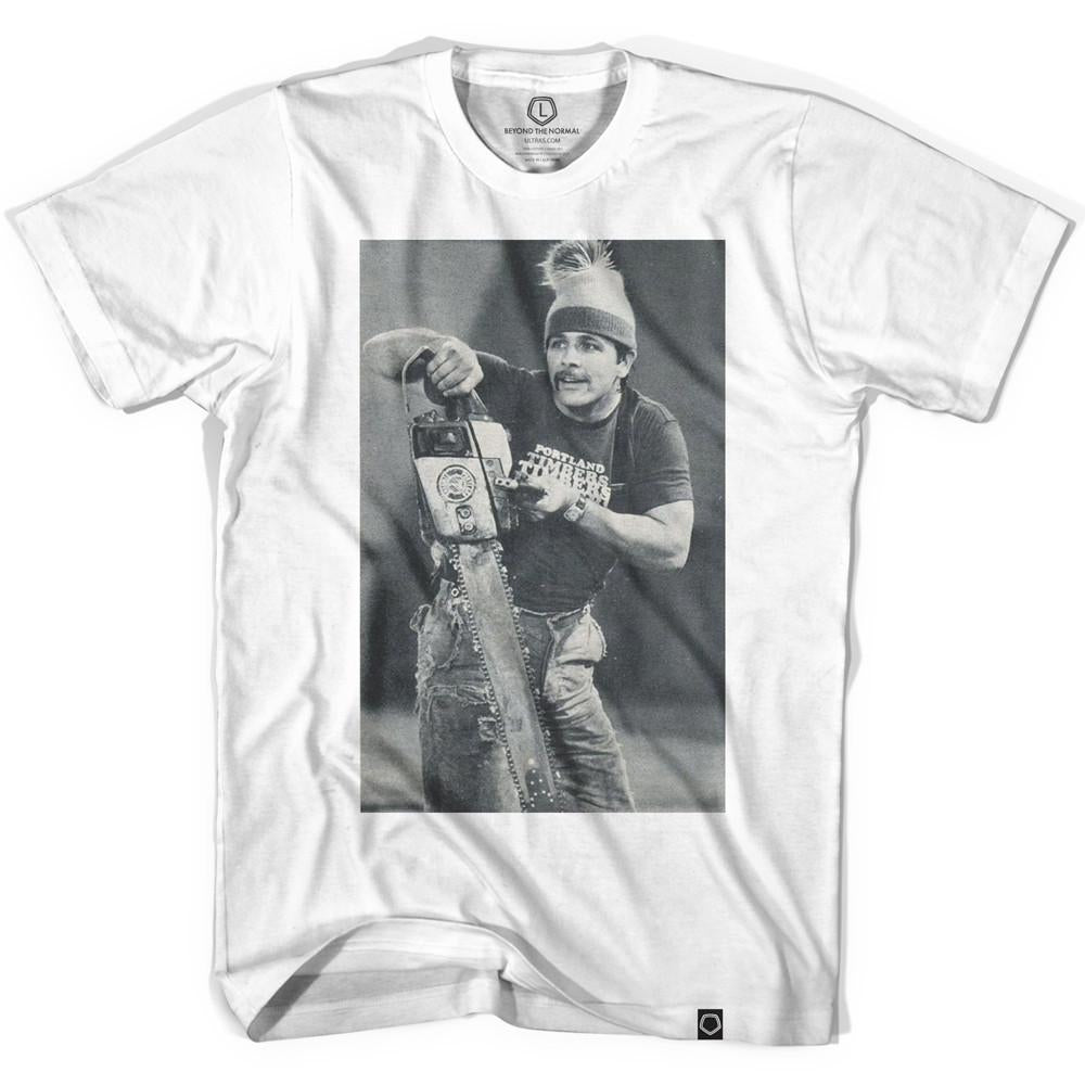 Timber Jim Black and White Collab Soccer T-shirt in White by Ultras