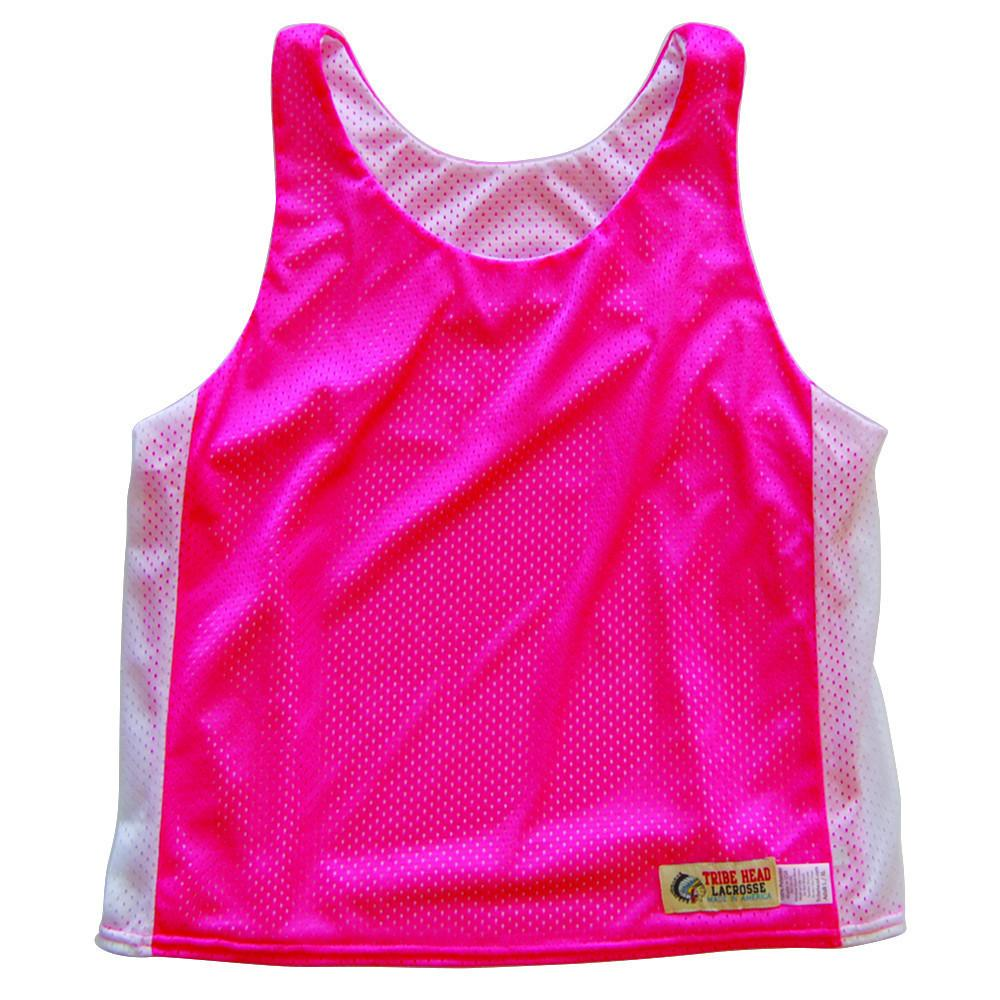 Womens Neon Pink and White Racerback Pinnie in Neon Pink/White by Tribe Lacrosse