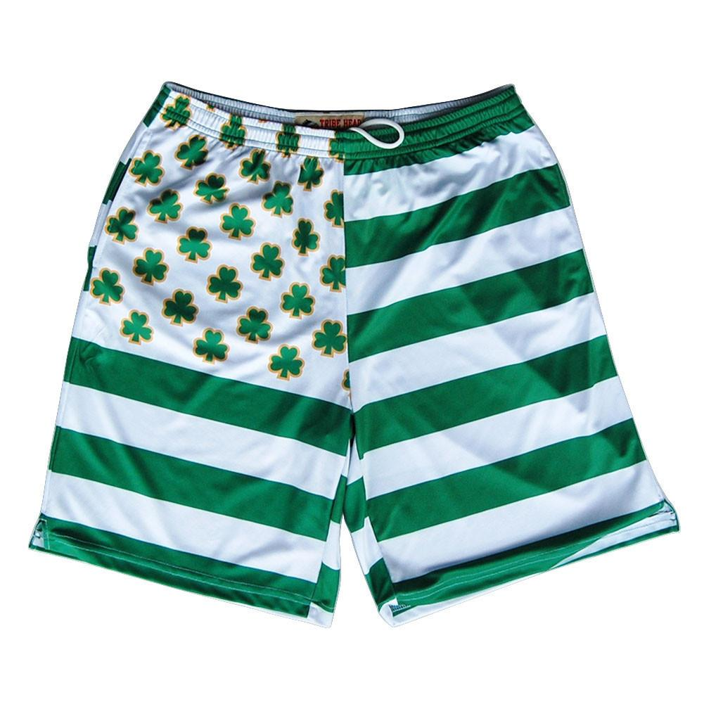 Clovers and Stripes Submilmated Lacrosse Shorts in Kelly by Tribe Lacrosse