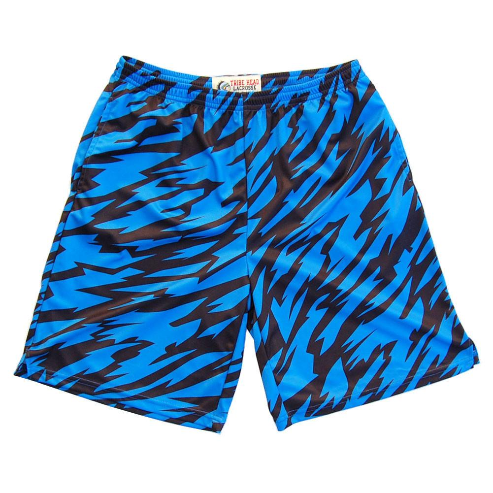 Royal and Black Two-Tone Camo Sublimated Lacrosse Shorts in Royal & Black by Tribe Lacrosse