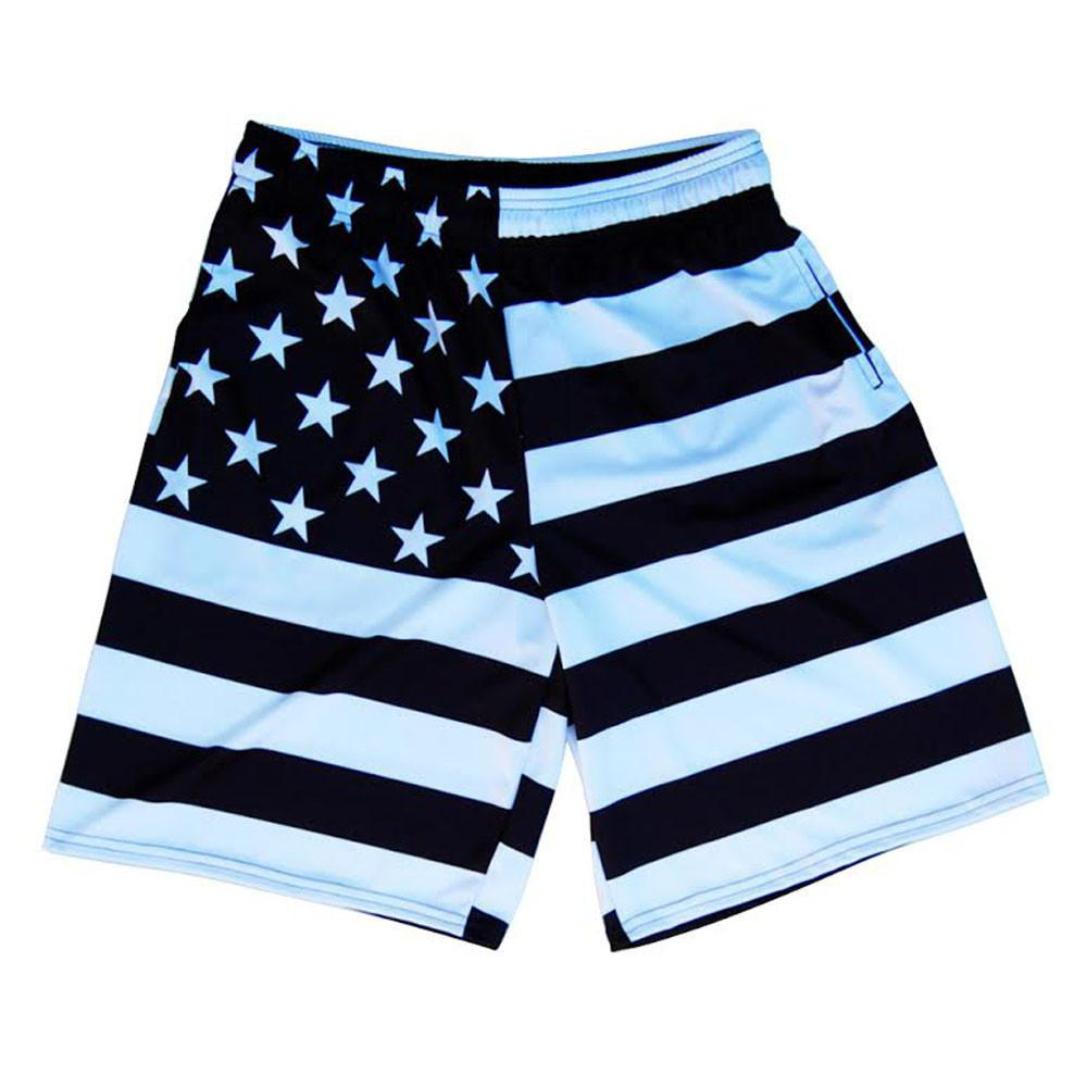 American Black Flag Sublimated Lacrosse Shorts in Black/White by Tribe Lacrosse