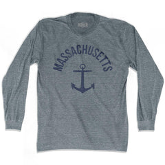 Massachusetts State Anchor Home Tri-Blend Adult Long Sleeve T-shirt by Ultras
