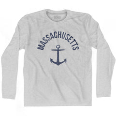 Massachusetts State Anchor Home Cotton Adult Long Sleeve T-shirt by Ultras
