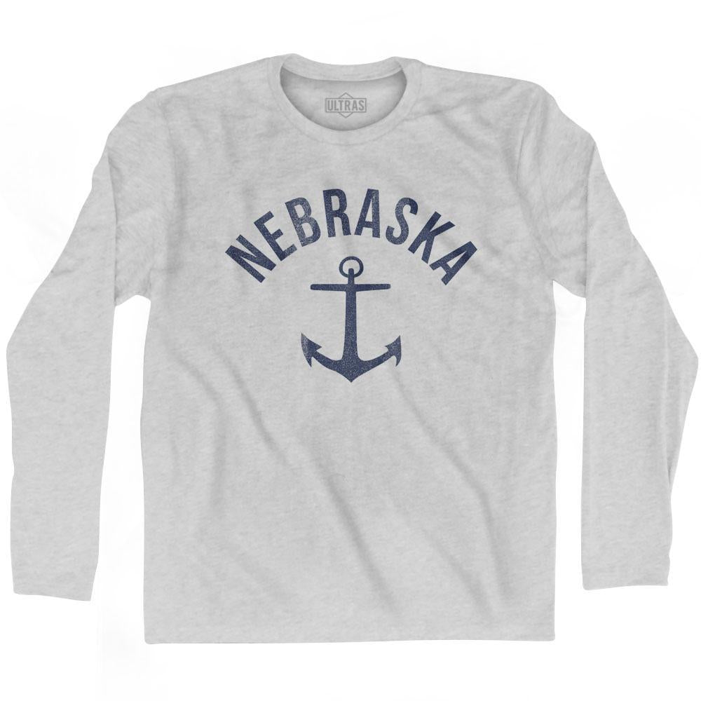 Nebraska State Anchor Home Cotton Adult Long Sleeve T-shirt by Ultras