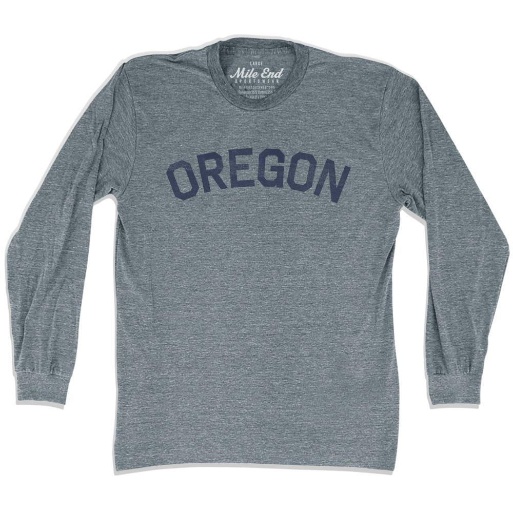 Oregon City Vintage Long Sleeve T-Shirt in Athletic Grey by Mile End Sportswear