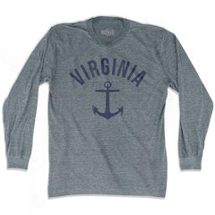 Virginia State Anchor Home Tri-Blend Adult Long Sleeve T-shirt by Ultras