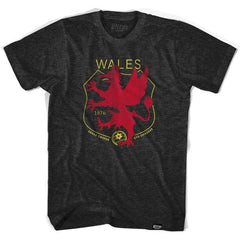 Wales Dragon Crest Soccer T-shirt in Tri-Black by Ultras