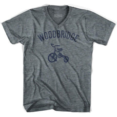 Woodbridge City Tricycle Adult Tri-Blend V-neck T-shirt by Ultras