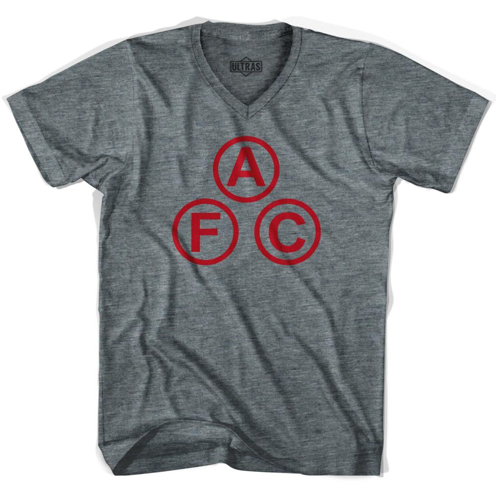 Ultras Arsenal AFC Cannon Balls V-neck T-shirt in Athletic Grey by Ultras