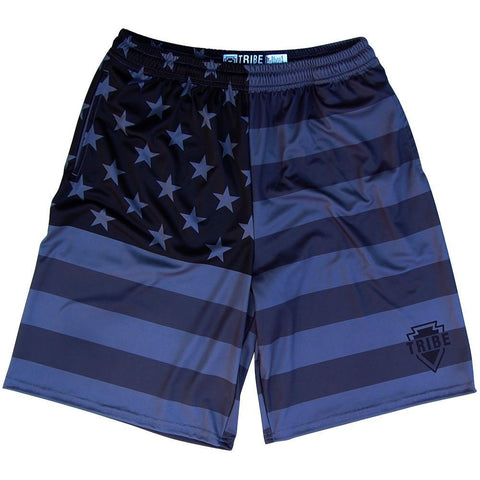 American Flag Black Out Lacrosse Shorts