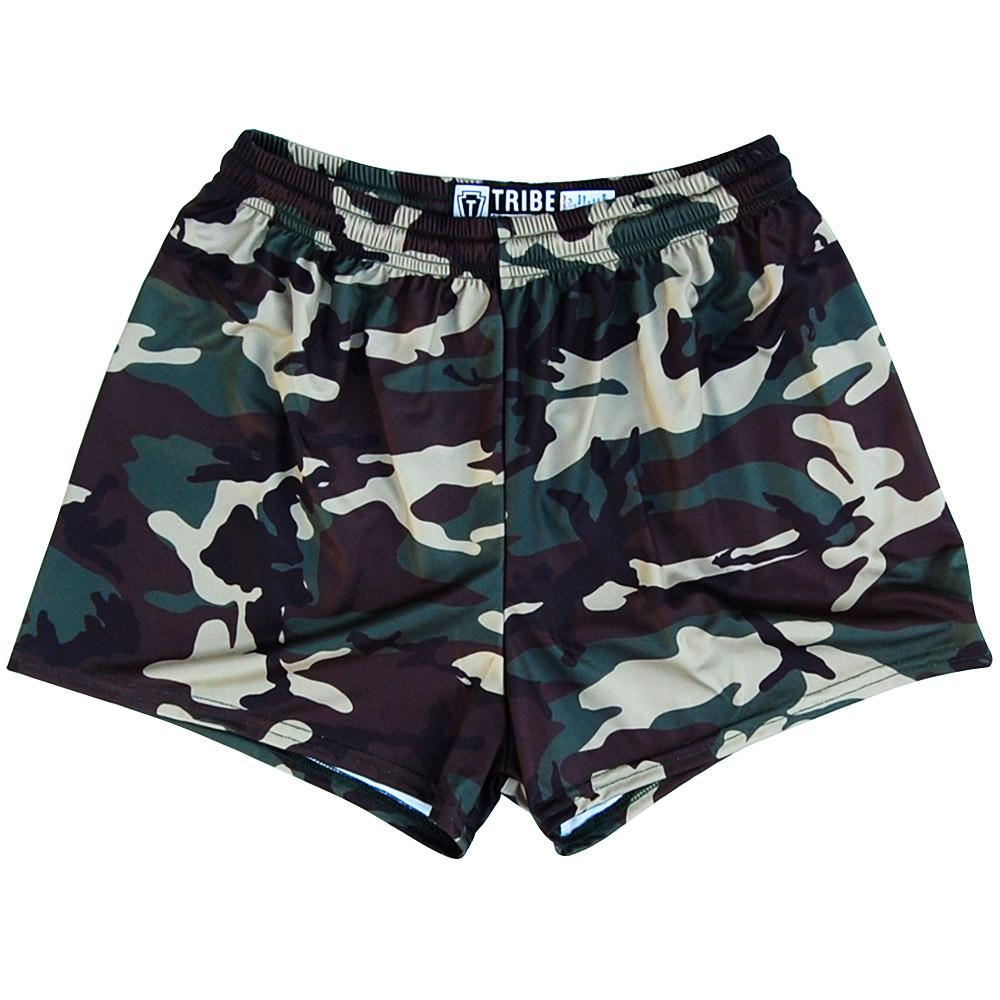 Army Camo Womens & Girls Sport Shorts by Mile End in Camo by Mile End Sportswear