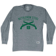 Bethlehem Steel Soccer Club Pistols Long Sleeve T-shirt in Athletic Grey by Ultras