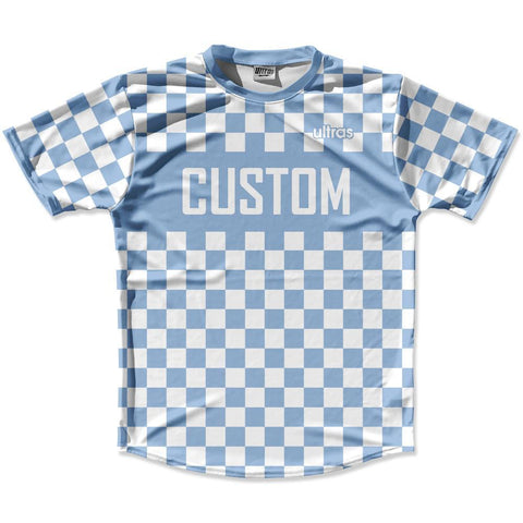 5bb070414ae Blue   White Custom Checkerboard Soccer Jersey