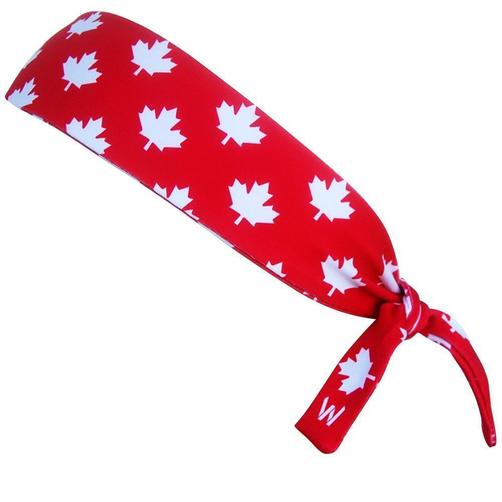 Canada Maple Leafs Red Elastic Tie Headband in Red by Wicked Headbands