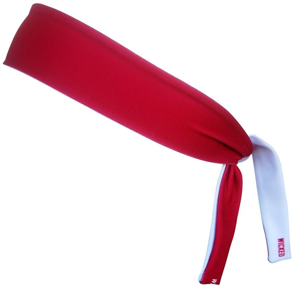 Cardinal & White Elastic Tie 2.25 Inch Headband in Cardinal and White by Wicked Headbands