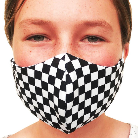 Checkerboard Black and White Lightweight Reversible Ear Loop Youth Face Mask Made In USA