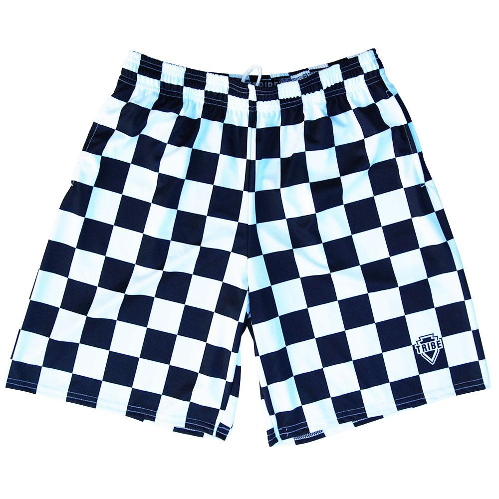 Navy and White Checkerboard Lacrosse Shorts by Tribe Lacrosse