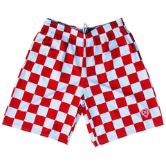 Red and Whtie Checkerboard Lacrosse Shorts by Tribe Lacrosse