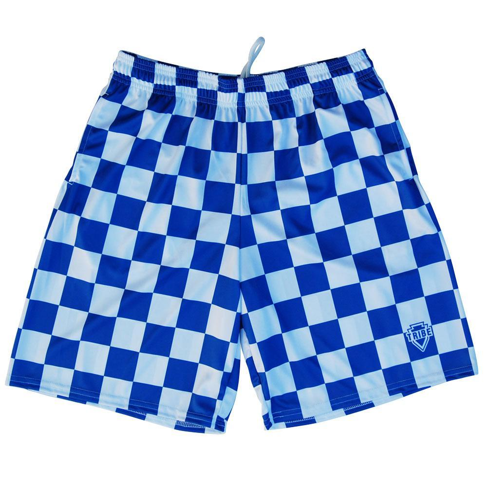 Royal and White Houndstooth Lacrosse Shorts by Tribe Lacrosse