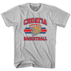 Croatia 90's Basketball T-shirts in Grey Heather by Billy Hoyle