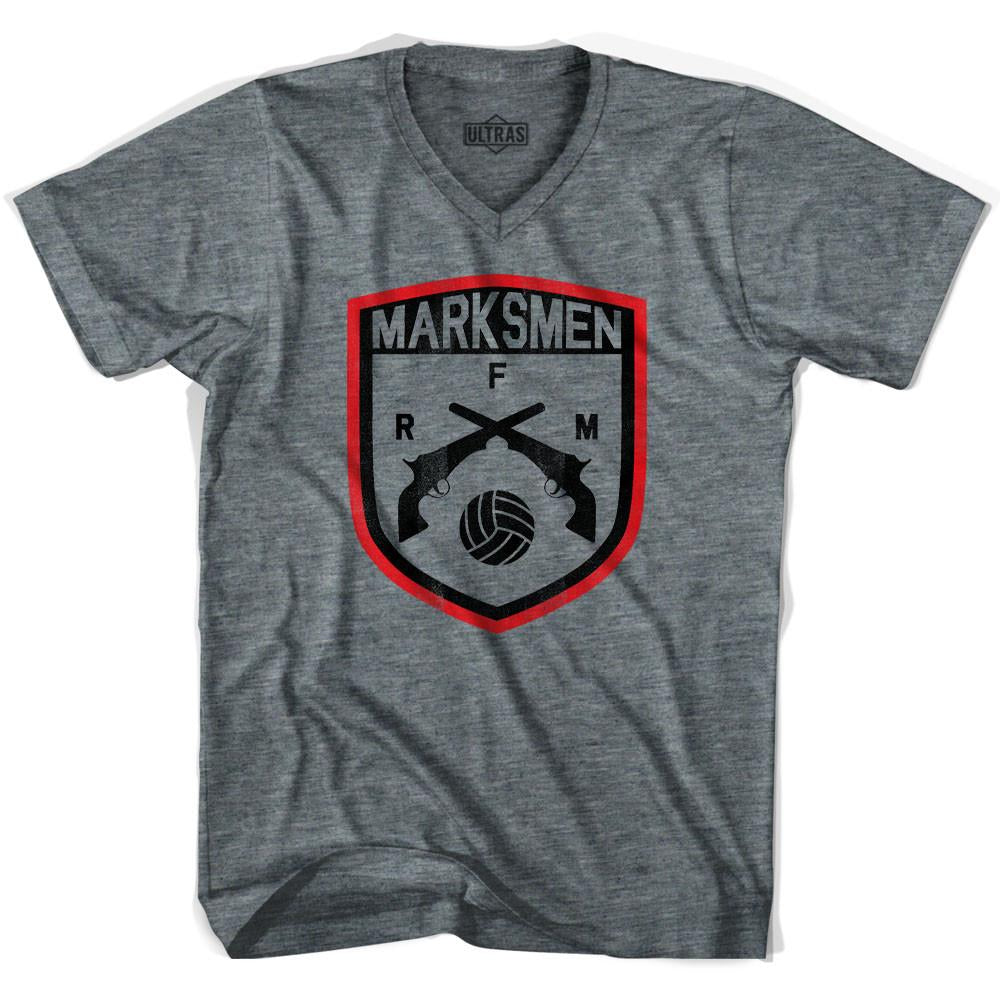 Ultras Fall River Marksmen Soccer V-neck T-shirt in Athletic Grey by Ultras