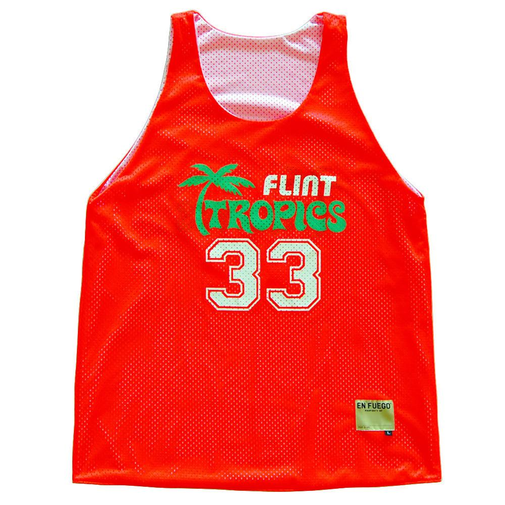 Flint Tropics Basketball Mesh Pinnie in Orange & White by Billy Hoyle