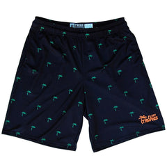 Flint Tropics Palms Lacrosse Shorts in Black by Tribe Lacrosse