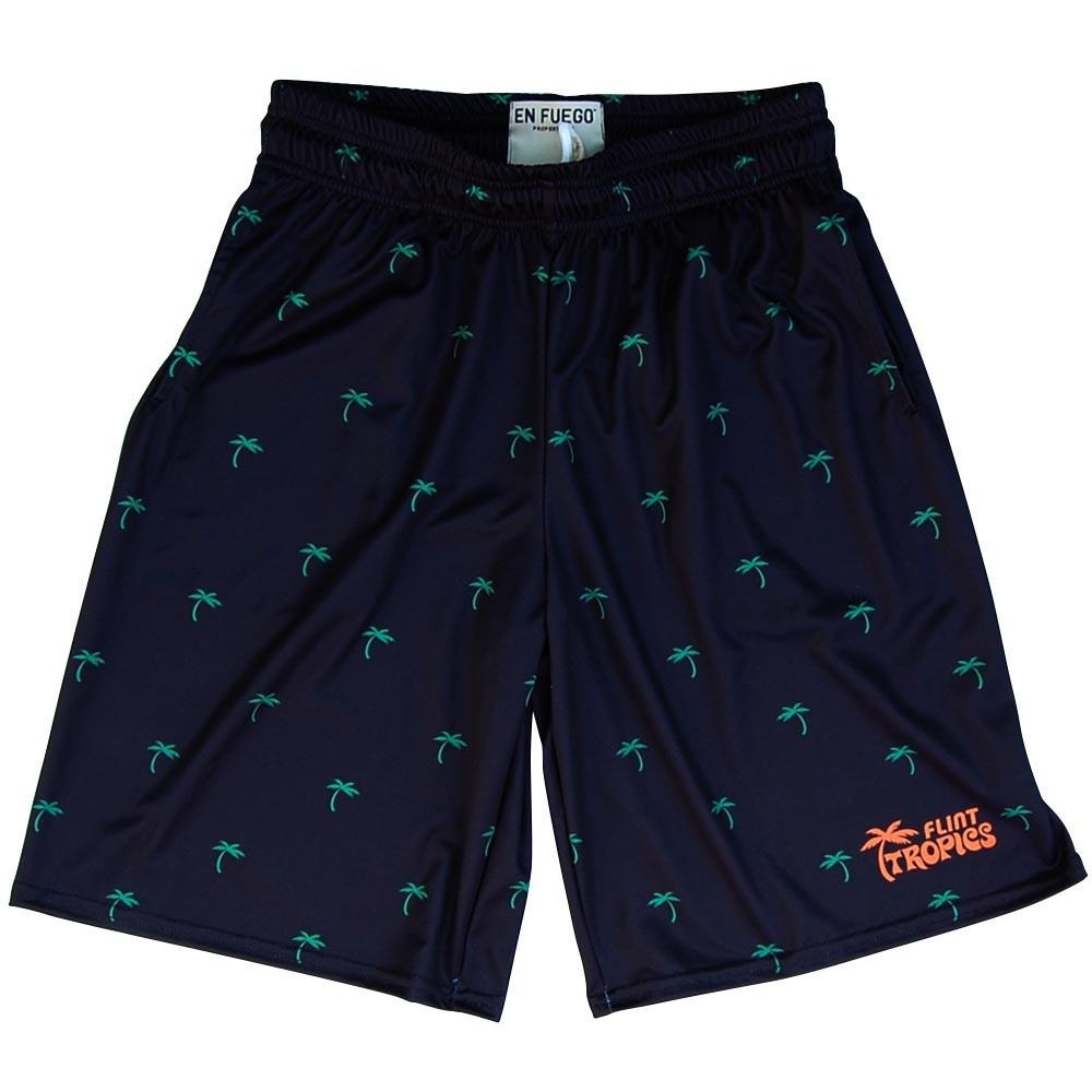 Flint Tropics Palms Basketball Shorts in black by Billy Hoyle