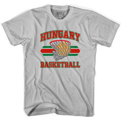 Hungary 90's Basketball T-shirts in Grey Heather by Billy Hoyle